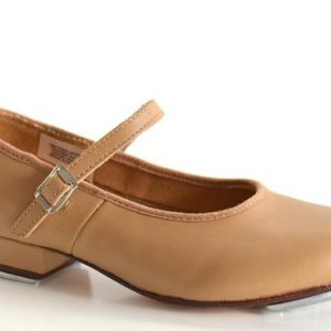 db0a35a4ec Tap shoes leather with Buckle Tan
